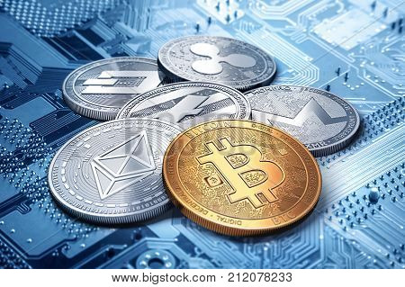 stack of cryptocurrencies: bitcoin ethereum litecoin monero dash and ripple coin together 3D rendering. New virtual money.