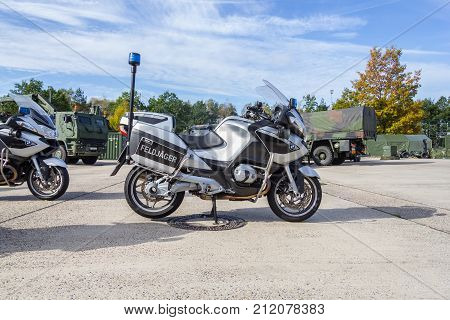 MUNSTER / GERMANY - OCTOBER 9 2017: german Bmw R 1200 RT motorbike from german military police stands on platform