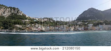 CAPRI ITALY - JUNE 26 2014: Moored Boats in Port Marina Grande at Island in Capri Italy.