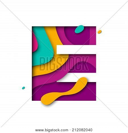 Paper Cut Letter E. Realistic 3D Multi Layers Papercut Isolated White Background
