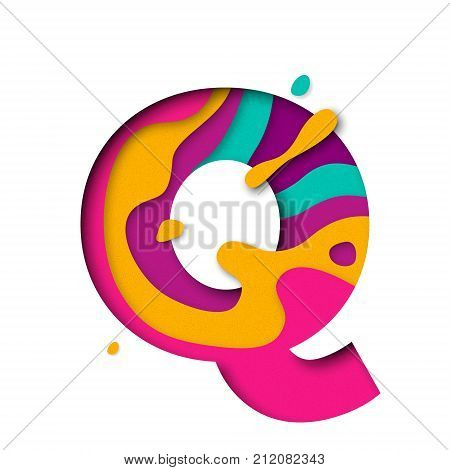 Paper cut letter Q. Realistic 3D multi layers papercut effect isolated on white background. Colorful character of alphabet letter font. Decoration origami element for birthday or greeting design poster