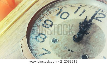 Close Up Of An Old Vintage Clock Face With Clock Hands, Number On Gruge Clock Face. Old Clock For Ba