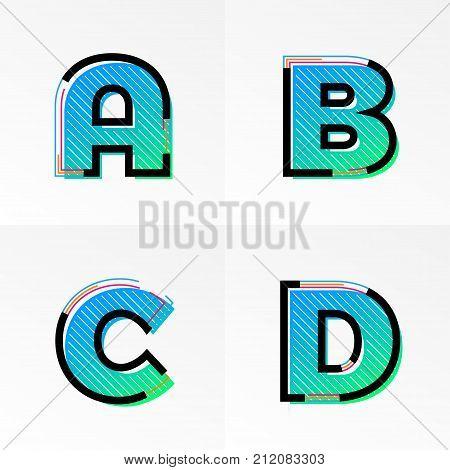 Font Alphabet Set Letters A, B, C, D Vector Gradient Color Memphis