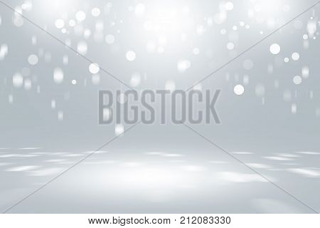 soft gray studio room background, grey floor backdrop with spotlight, stage with scenic lights.