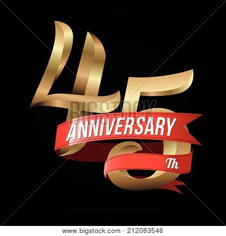 45 Years Anniversary Golden Logo Celebration with Red Ribbon