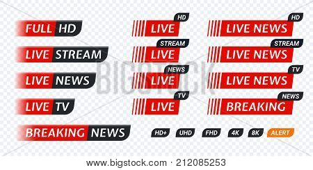 Live Stream Tv News Tag Icon. Video Symbol Live Broadcasting