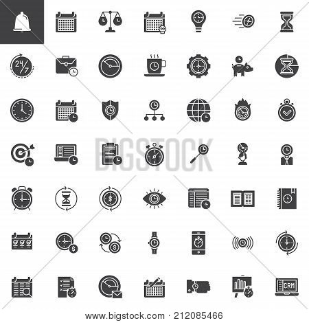 Time management vector icons set, modern solid symbol collection, filled pictogram pack. Signs, logo illustration. Set includes icons as calendar, stopwatch, hourglass, clock, agenda, time