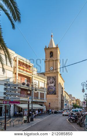 LORCA,SPAIN - OCTOBER 3,2017 - Church of San Francisco in the street of Lorca. The town Lorca is situated in eastern Spain between Granada and Murcia.