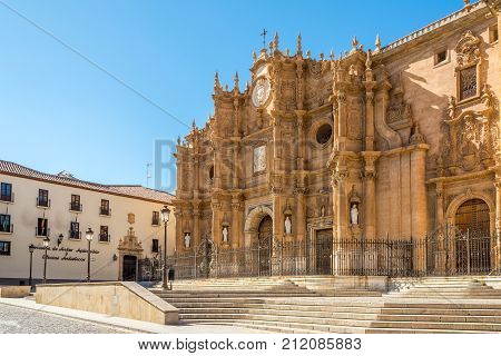GUADIX,SPAIN - OCTOBER 3,2017 - View at the cathedral of Guadix. Construction of the building began in the 16th century and was completed in 18th century.