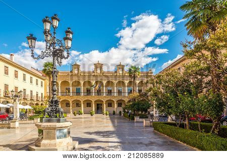 GUADIX,SPAIN - OCTOBER 3,2017 - City hall at the place of Constitution in Guadix. Guadix is city of southern Spain in the province of Granada.
