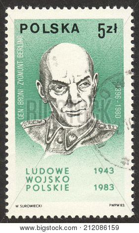 MOSCOW RUSSIA - CIRCA OCTOBER 2017: a post stamp printed in POLAND shows a portrait of General Zygmunt Berling (1896-1980) the series