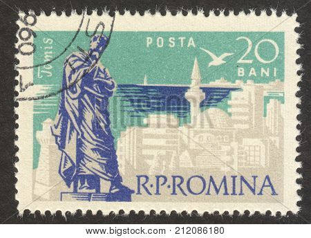 MOSCOW RUSSIA - CIRCA OCTOBER 2017: a post stamp printed in ROMANIA shows Tomis town the series