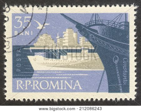 MOSCOW RUSSIA - CIRCA OCTOBER 2017: a post stamp printed in ROMANIA shows Constanta town the series