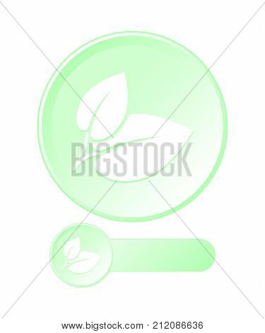 Round button with leaves symbol of ecological compatibility. Set vector.