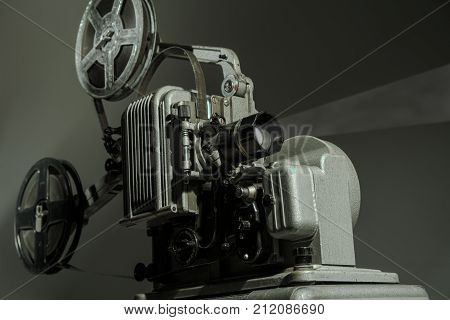 Old Cinema Projector On A Dark Background