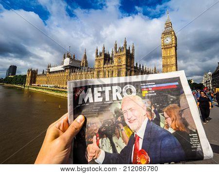Newspaper Showing Jeremy Corbyn In London, Hdr