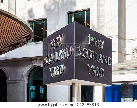 New Scotland Yard Police Sign In London, Hdr