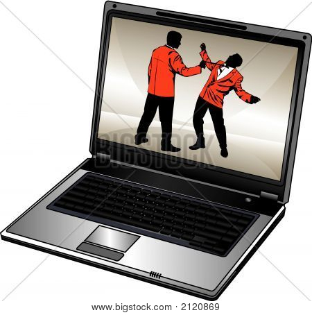 Vector Humorous Silhouette Of Businessman And Opened Laptop