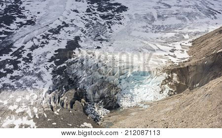 Glacier at the mountain Grossglockner at the Kaiser Franz-Josefs Hohe at the Grossglockner Hochalpenstrasse Austria.