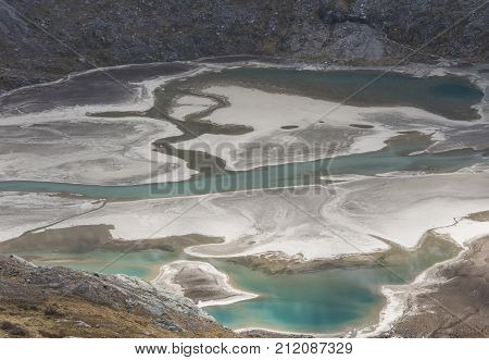 Green blue glacier lake at the mountain Grossglockner at the Kaiser Franz-Josefs Hohe in Austria.
