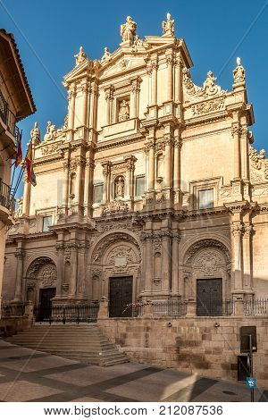 View at the facade of Cathedral San Patrick in Lorca - Spain