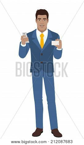 Businessman with mobile phone shows the business card. Full length portrait of Black Business Man in a flat style. Vector illustration.