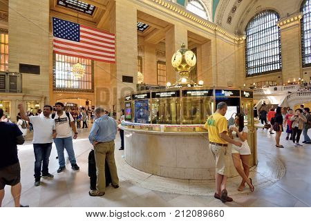NEW YORK CITY - AUG. 26: Interior of the Grand Central Terminal on August 26 2017 in New York City NY. Grand Central Terminal is a commuter rapid transit and intercity railroad terminal in NYC