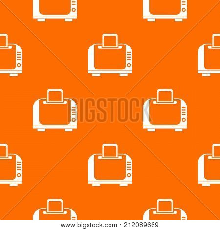 Toaster pattern repeat seamless in orange color for any design. Vector geometric illustration