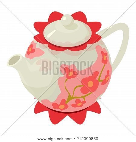 Kettle sakura icon. Isometric illustration of kettle sakura vector icon for web
