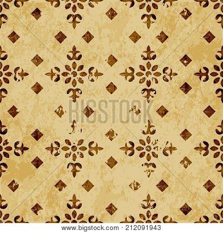 Retro Brown Watercolor Texture Grunge Seamless Background Round Corner Square Cross Mosaic
