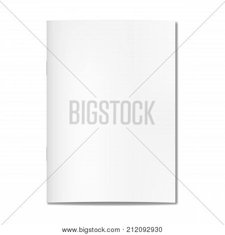 Vector realistic closed book journal or magazine cover mockup with sheet of A4A. Blank front or cover page of sketchbook or notepad template for catalog brochure design