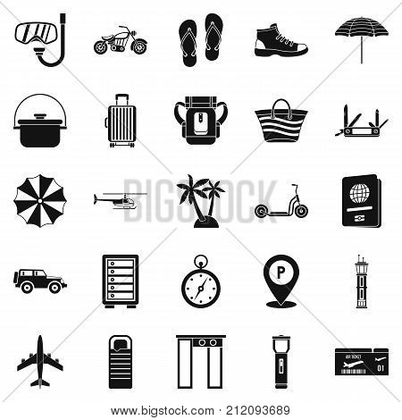 Tour guide icons set. Simple set of 25 tour guide vector icons for web isolated on white background