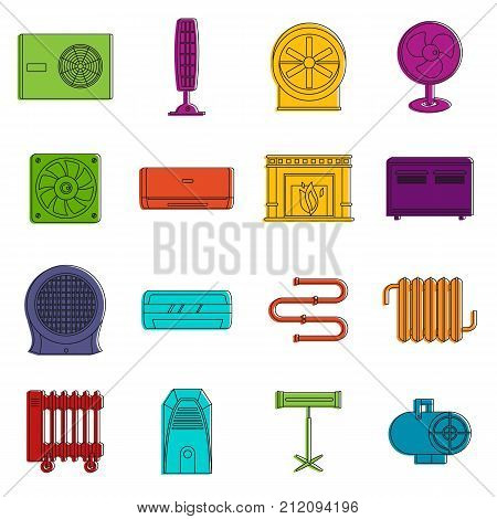 Heating cooling air icons set. Doodle illustration of vector icons isolated on white background for any web design