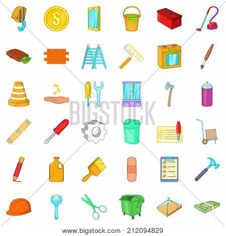 Home repair icons set. Cartoon style of 36 home repair vector icons for web isolated on white background