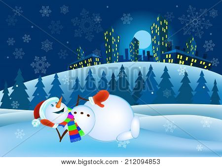 Snowman in red mittens and striped scarf on winter background - vector