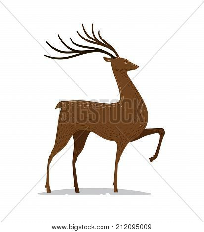 Deer with horns. Decorative animal. Vector illustration isolated on white background