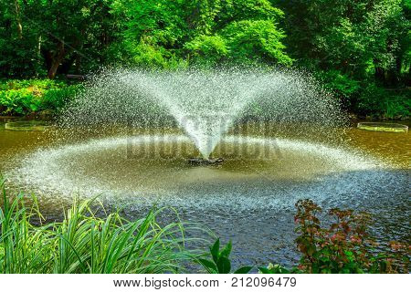 Garden fountain with splashing water in a pond with green trees, grass and flowers around.