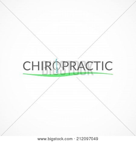 Chiropractic stylized logo. Effective alternative medicine illustration poster