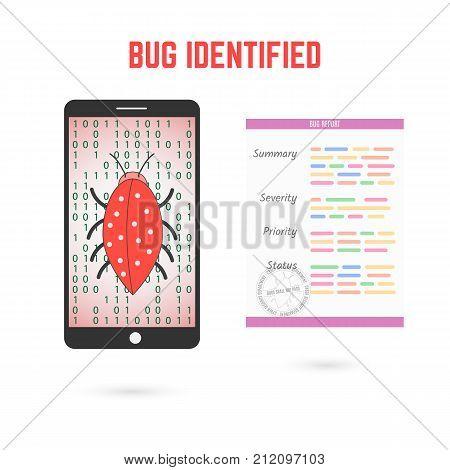 Bug detection set. Digital error and bug report illustration