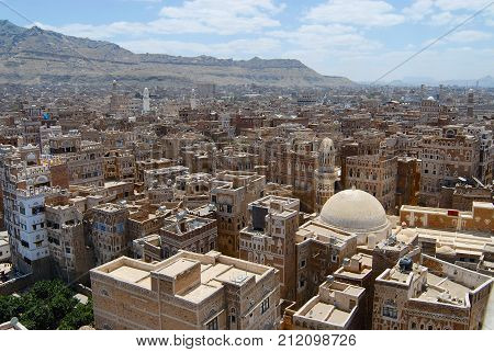 SANAA, YEMEN - SEPTEMBER 0,9 2006: View to the Sanaa city in Sanaa, Yemen. The old city of Sanaa is declared a UNESCO World heritage site.