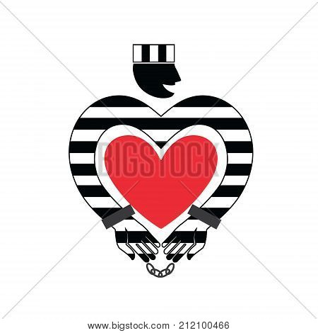 Prisoner with heart icon. Online Dating. Flat style isolated vector illustration. Prisoner in striped uniform