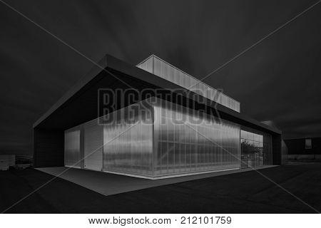 Futuristic view of the modern buildings in Parque Tecnologico de Alava in Miñano Alava. Photo taken on 2017 august the 5th