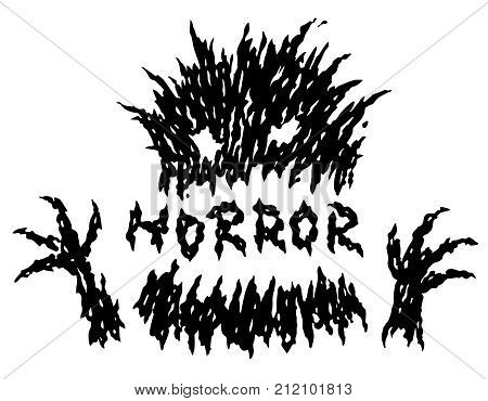 Little black toothy terrible stump monster. The horror genre. Scary halloween character. Vector illustration.