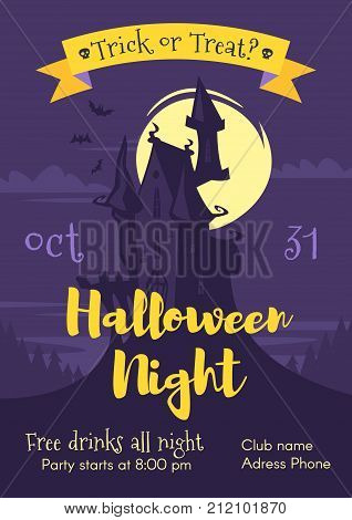 Vector cartoon style Halloween poster design template with holiday symbols scary castle in moon light.