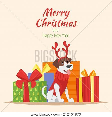 Vector cartoon style illustration of cute dog with deer Christmas horns and presents at the back. New Year greeting card. Template for print.