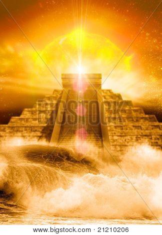 Mayan Pyramid, Floods And Sun
