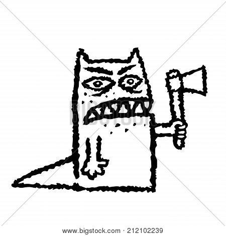 A funny toothy monster with an ax in his hand. Vector illustration. Genre of horror. Scary character with evil eyes.
