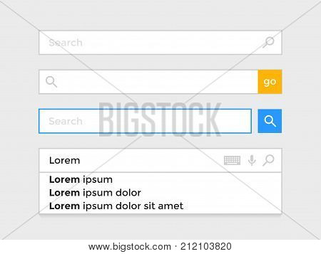 Search Bar Web Page Internet Browser Element Vector Icons Template