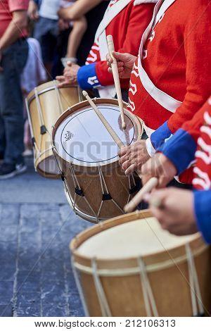 Soldiers Drumming In Tamborrada Of San Sebastian. Basque Country, Spain.