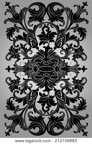 Classic black ornament on a gray background beautiful old paper certificate award royal diploma ornate cover. Vector illustration.